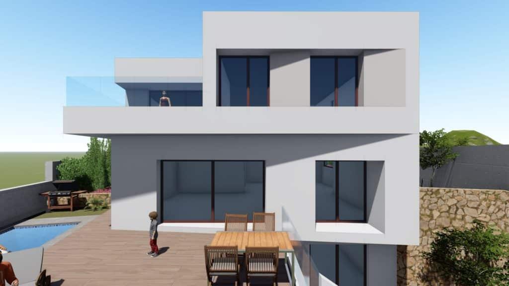Imagen 3D del frontal casa en las Colinas de Aguadulce