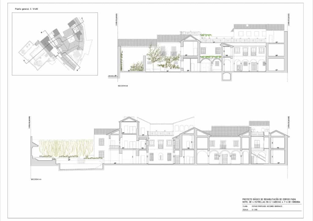 Secciones y alzados del proyecto de Hotel