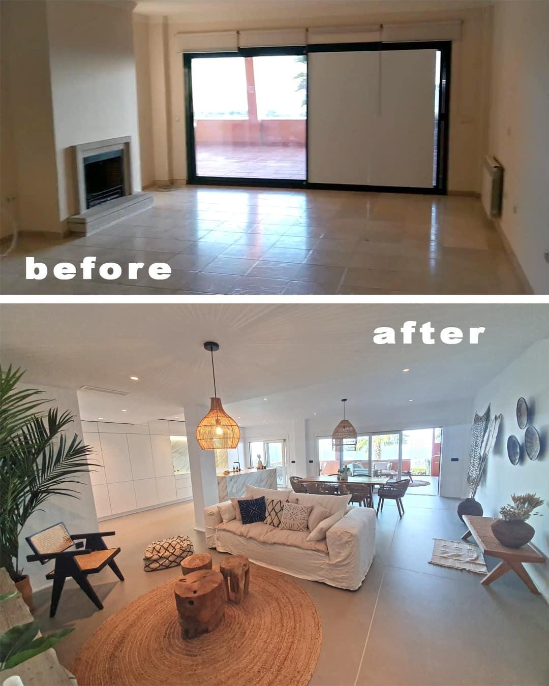 Imagen del antes y el depués del salón-comedor cocina en la reforma piso Marbella, decoración ibizenca