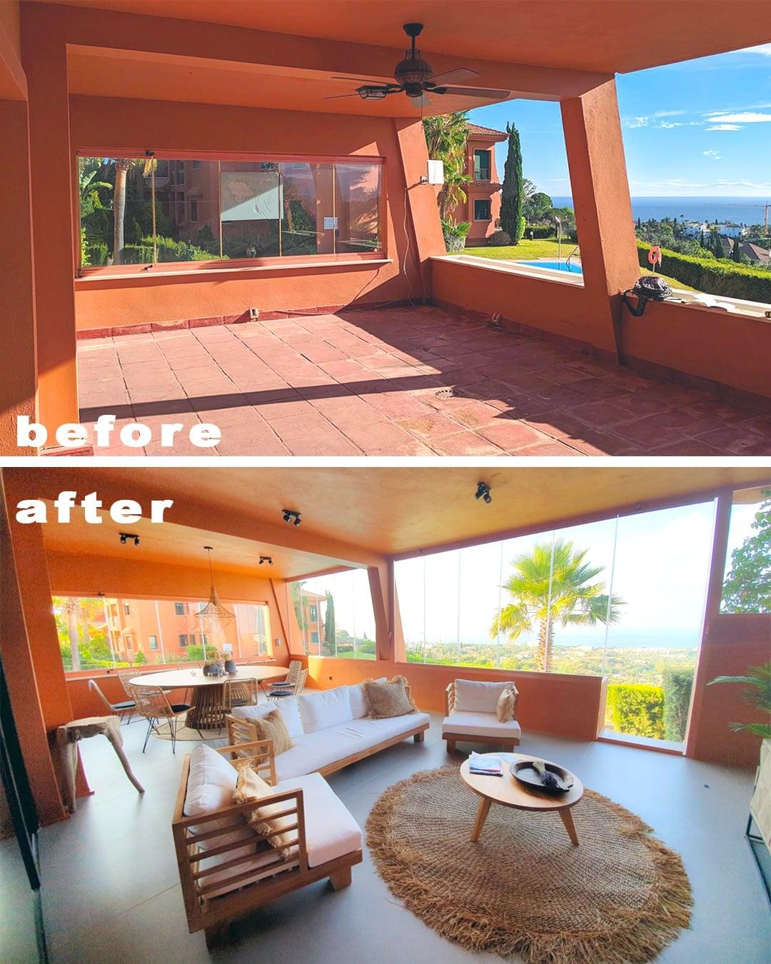 Imagen del antes y el depués de la terraza exterior cubierta en la reforma piso Marbella, decoración ibizenca