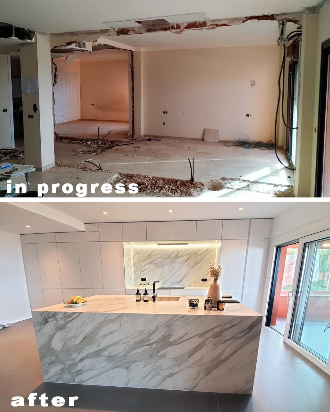 Imagen del antes y el después de la cocina en la reforma piso Marbella, decoración ibizenca