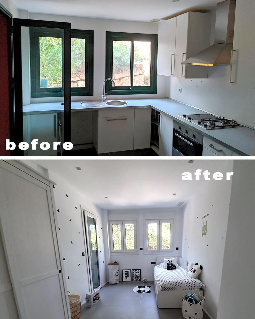 Imagen del antes y el depués de una cocina transformada en dormitorio en la reforma piso Marbella, decoración ibizenca
