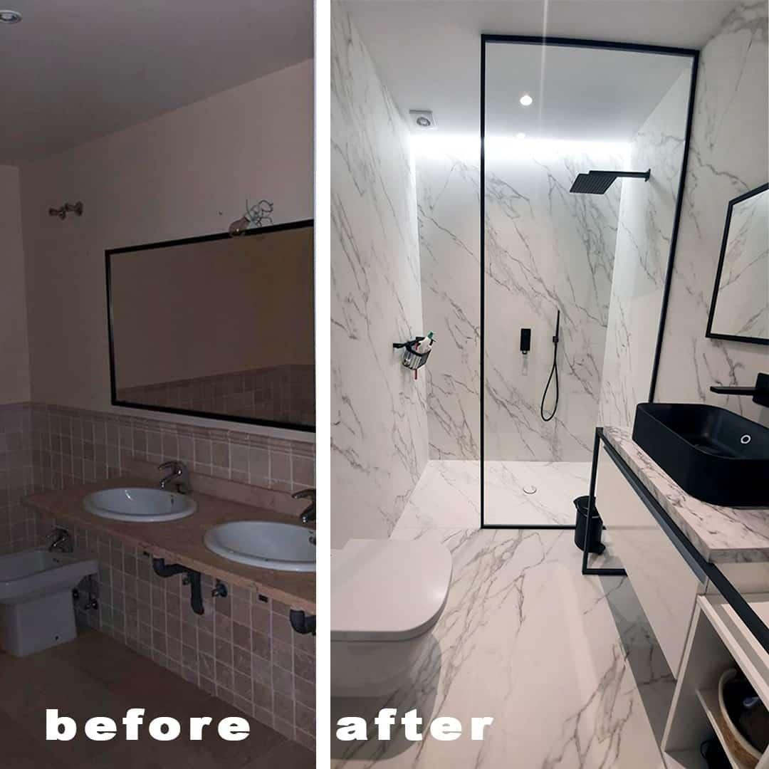 Imagen del antes y el depués del baño en la reforma piso Marbella, decoración ibizenca